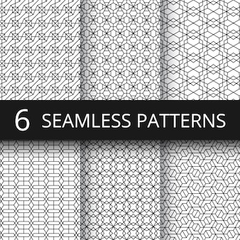 Monochrome line geometrical vector seamless patterns. delicate simple wallpaper repeat texture set
