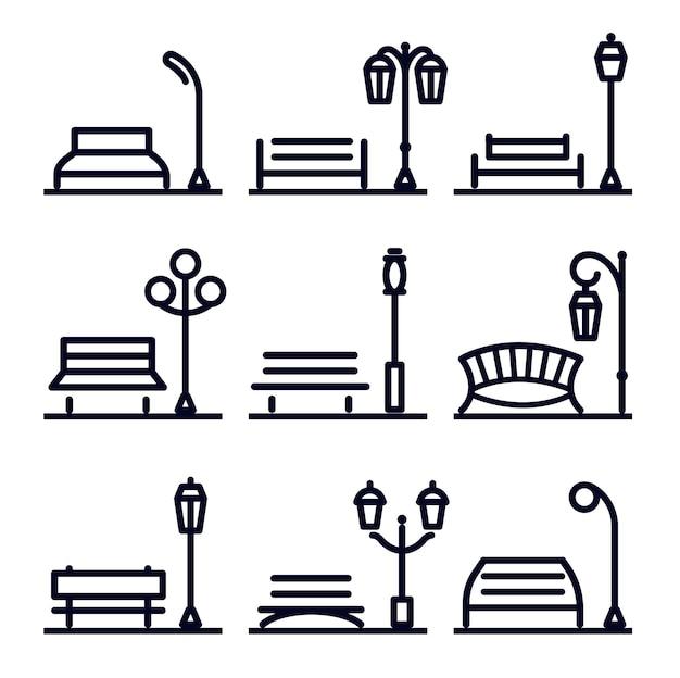 Монохромный линейный абстрактный набор элементов ландшафтного дизайна, элементы уличного парка, скамейка в парке и фонарь