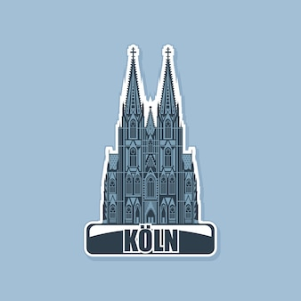 Monochrome logo of the cathedral in the city of cologne.