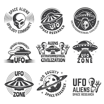 Monochrome logo set with aliens, ufo and space