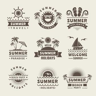 Monochrome logo of summer time