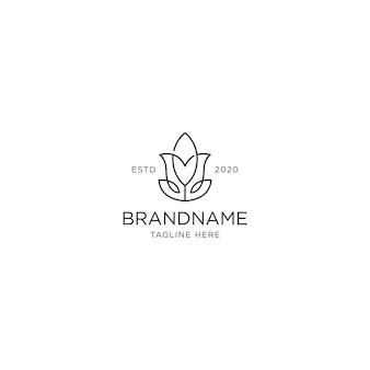 Monochrome lotus logo design template