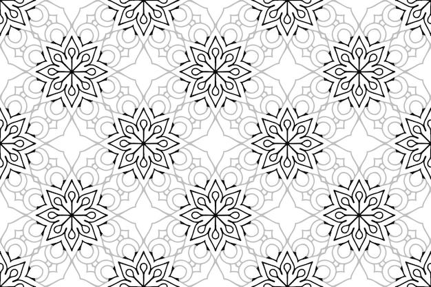 モノクロ曼荼羅シームレスパターン