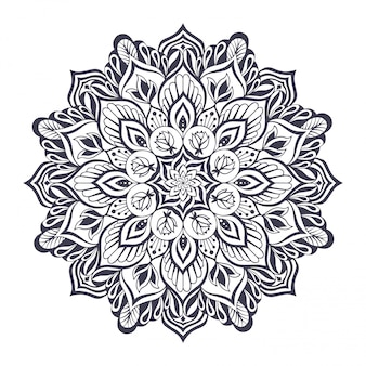 Monochrome mandala for yoga and pilates