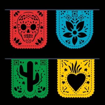 흑백 멕시코 깃발 천 모음