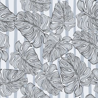 Monochrome monstera leaves silhouette seamless pattern on stripes background