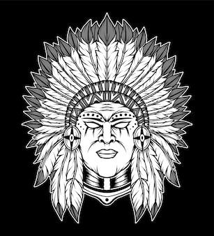 흑백 아메리카 원주민 그림입니다. 프리미엄 벡터
