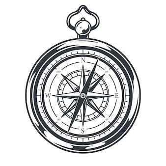 Monochrome nautical emblem compass for navigation camping