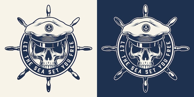Monochrome nautical round print with ship wheel and skull in sea captain hat in vintage style isolated