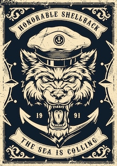 Monochrome nautical vintage poster