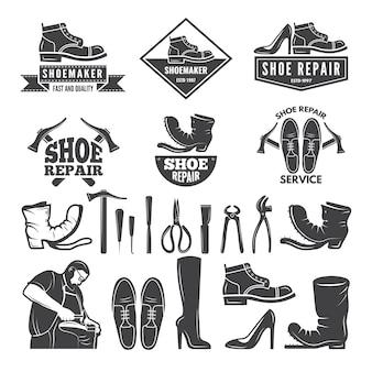 靴修理用のさまざまなツールのモノクロ