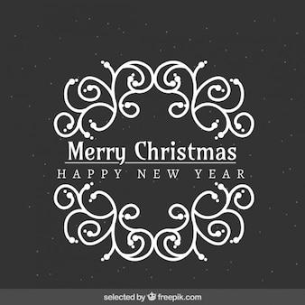 Монохромный орнамент Рождественская рамка
