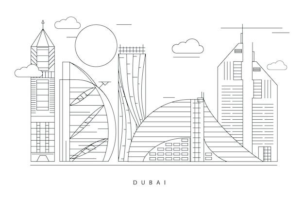 Monochrome outline landmarks skyline design