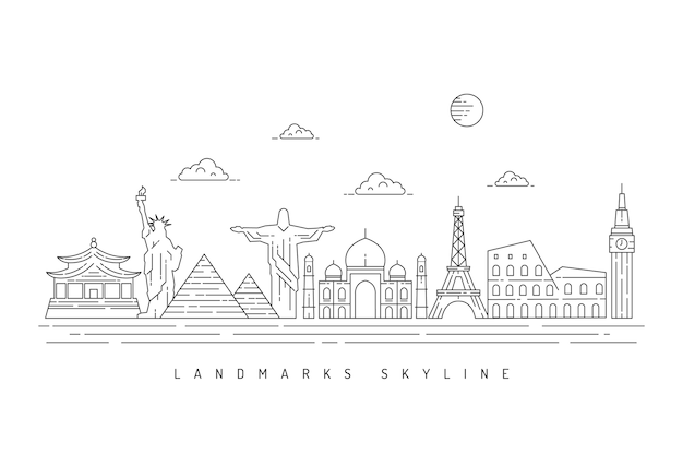 Monochrome outline landmarks skyline design