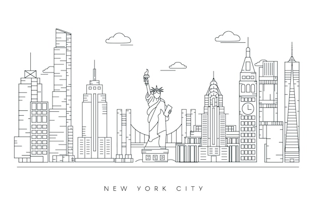 Monochrome outline landmarks skyline