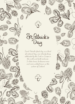 Monochrome oval frame doodle card with many hop branches, blossom and greeting with traditional st. patricks day