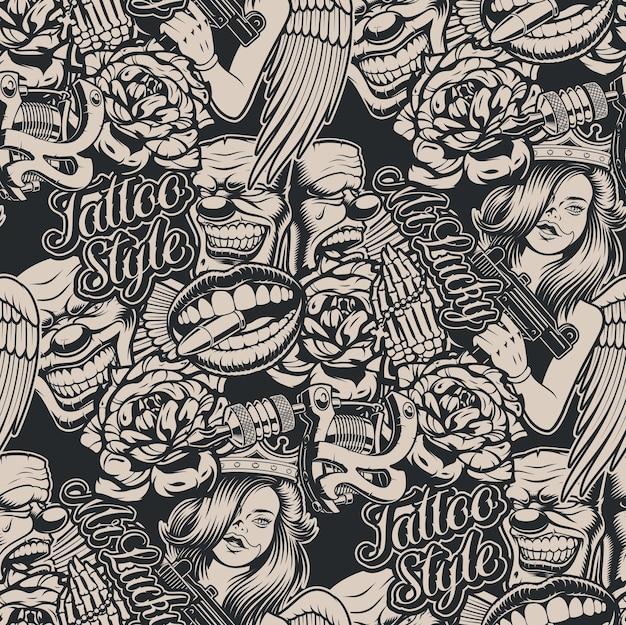 Монохромный узор на тему татуировки для черного. идеально подходит для печати на ткани, отделки стен и многих других целей.