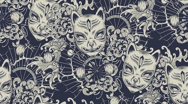 Монохромный узор с маской кицунэ на японскую тему. все цвета выделены в отдельную группу. идеально подходит для печати на ткани и украшения