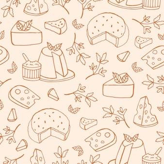 Монохромный рисунок с сыром разных видов рикотта, рокфор, бри, маасдам