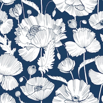 Monochrome pattern with gorgeous blooming wild poppy flowers, leaves and seed heads hand drawn with contour lines on blue background.