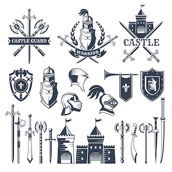 Monochrome pictures and badges of medieval knight theme.