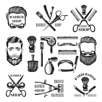 Monochrome pictures of barber shop tools.