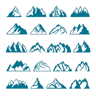 さまざまな山のモノクロ写真セット。ラベルのコレクション。山の岩のシルエット、火山、丘の石のイラスト