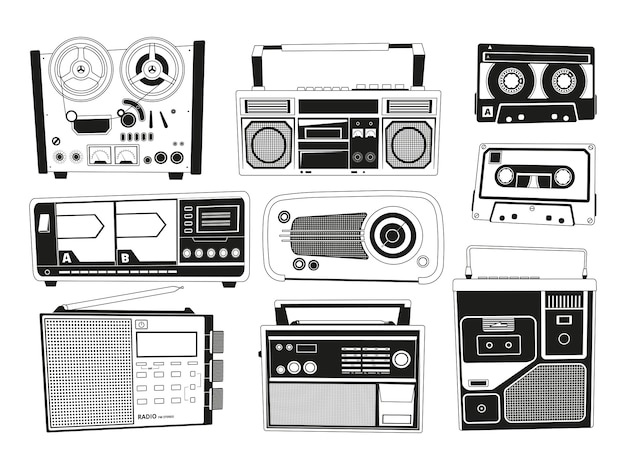 Monochrome pictures set of various vintage audio recorders