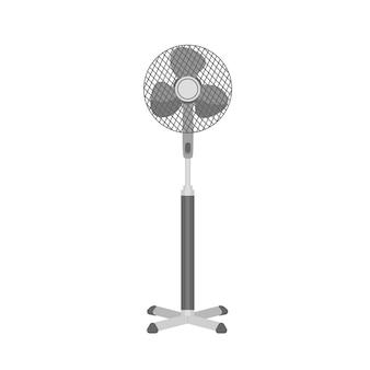 白い背景で隔離のモノクロプラスチック台座または床ファン。家庭またはオフィスの現実的な電気換気装置。家庭用空気吹き器具。フラットスタイルのベクトルイラスト。