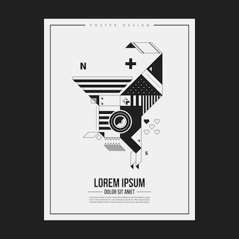 Monochrome poster design template with abstract geometric creature. useful for advertising.
