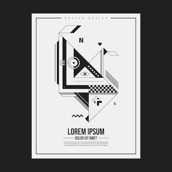 추상적 인 기하학적 생물과 흑백 포스터 디자인 템플릿입니다. 광고에 유용합니다. 프리미엄 벡터