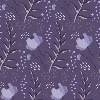 Monochrome purple doodle floral pattern
