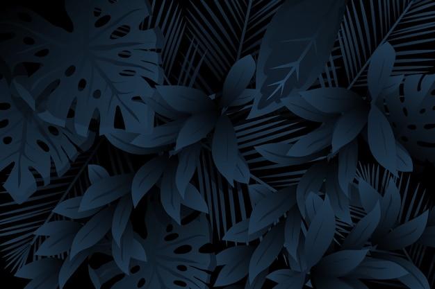 Monochrome realistic dark tropical leaves background