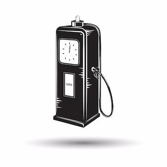 モノクロのレトロな燃料駅アイコン