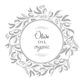 Monochrome round decorative frame label