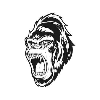 Monochrome scream gorilla vector illustration
