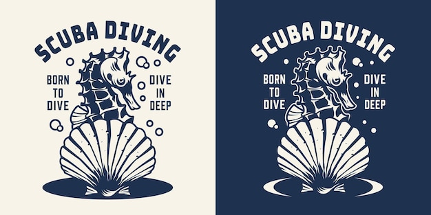 Monochrome scuba diving logo with seahorse and seashell in vintage style isolated