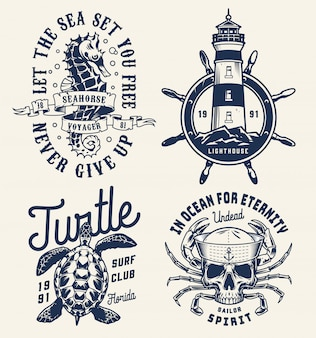 Monochrome sea and marine badges