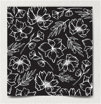 Monochrome seamless floral and abstract flower ornament decoration pattern