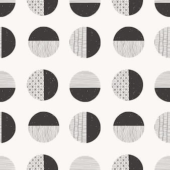 Monochrome seamless hand drawn pattern made with ink, pencil, brush. geometric doodle shapes of spots, dots, strokes, stripes, lines.