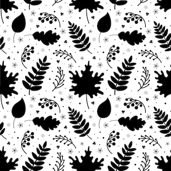 Monochrome seamless pattern of leaves twigs and berries