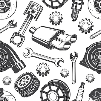 Monochrome seamless pattern with automobile tools and details. parts for repair car pattern, detail brake and spark, vector illustration