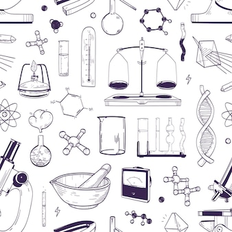 Monochrome seamless pattern with chemical and physical lab equipment hand drawn with contour lines on white background. backdrop with tools for scientific experiment. realistic vector illustration.