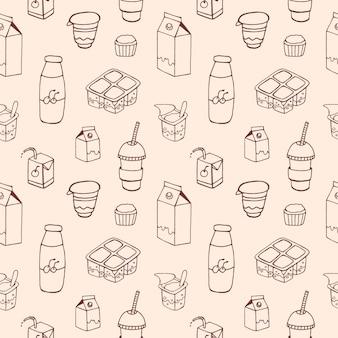 ピンクの輪郭線で描かれた乳製品と白黒のシームレスパターン