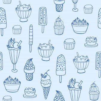 Monochrome seamless pattern with delicious ice cream and milky desserts of various types on white background.