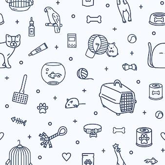 Монохромный фон с домашними животными и предметами для ухода за домашними животными и развлечениями, нарисованными контурными линиями на белом фоне.