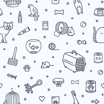 Monochrome seamless pattern with domestic animals and items for pet care and entertainment drawn with contour lines on white background.