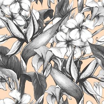 エキゾチックな花とモノクロのシームレスパターン