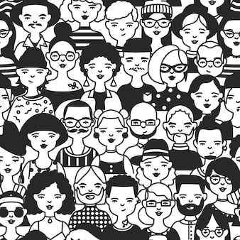 Monochrome seamless pattern with faces or heads of people.
