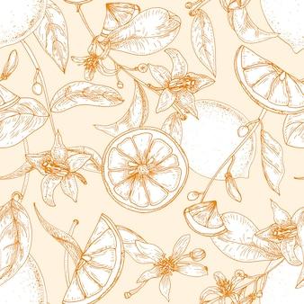 新鮮なレモン、全体とスライス、花、葉にカットされたモノクロのシームレスパターン
